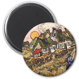 Thatched Cottages 6 Cm Round Magnet