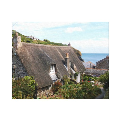 Thatched Cottages at Cadgwith Cornwall Photograph Stretched Canvas Prints