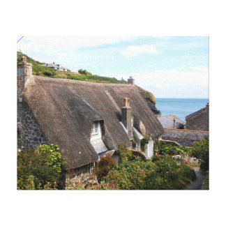 Thatched Cottages at Cadgwith Cornwall Photograph Gallery Wrap Canvas