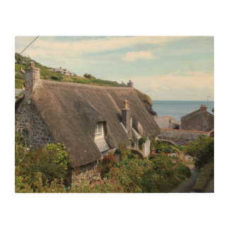 Thatched Cottages at Cadgwith Cornwall Photograph Wood Prints