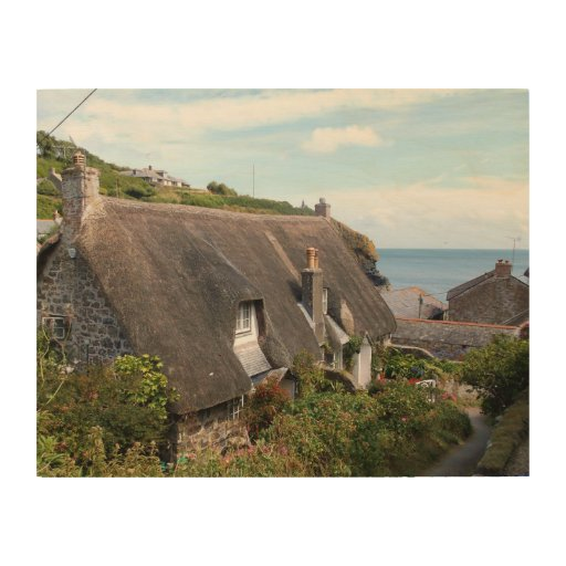 Thatched Cottages at Cadgwith Cornwall Photograph Wood Canvases