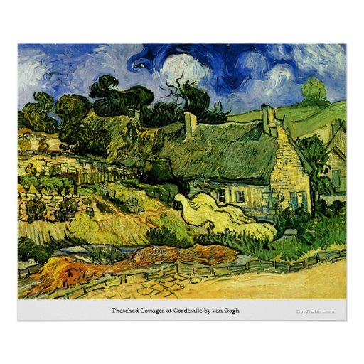 Thatched Cottages at Cordeville by van Gogh Poster