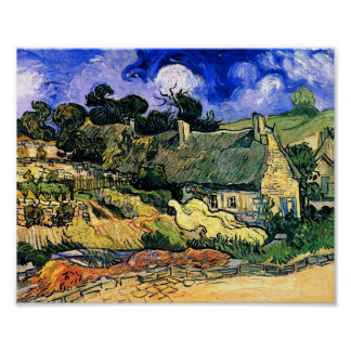 Thatched Cottages at Cordeville Van Gogh Fine Art Poster