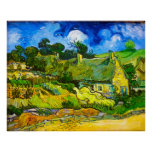 Thatched Cottages at Cordeville (van Gogh) Poster