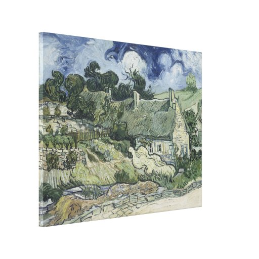 Thatched Cottages at Cordeville Vincent Van Gogh Stretched Canvas Print
