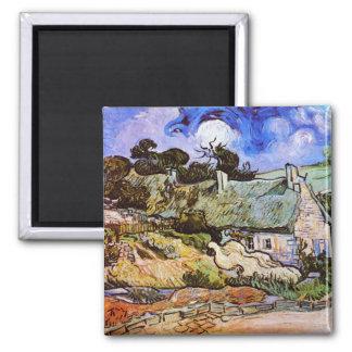 Thatched Cottages at Cordeville, Vincent Van Gogh Magnet