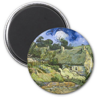 Thatched Cottages at Cordeville - Vincent Van Gogh 6 Cm Round Magnet