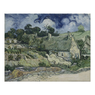 Thatched Cottages at Cordeville Vincent Van Gogh Posters