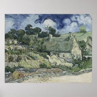 Thatched Cottages at Cordeville Vincent Van Gogh Posters
