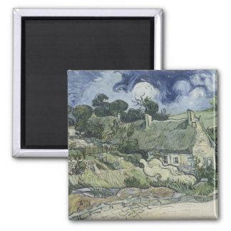 Thatched Cottages at Cordeville Vincent Van Gogh Square Magnet