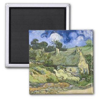 Thatched Cottages at Cordeville - Vincent Van Gogh Square Magnet