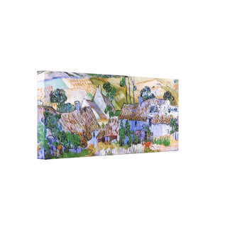 Thatched Cottages by a Hill by Vincent van Gogh Gallery Wrapped Canvas