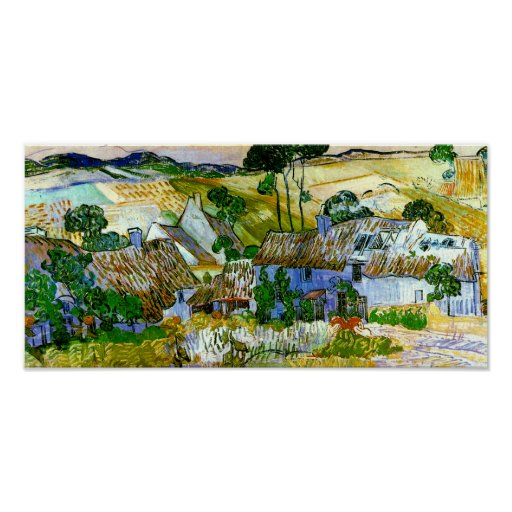 Thatched Cottages by a Hill Van Gogh Fine Art Poster