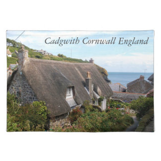 Thatched Cottages Cadgwith Cornwall England Photo Placemat