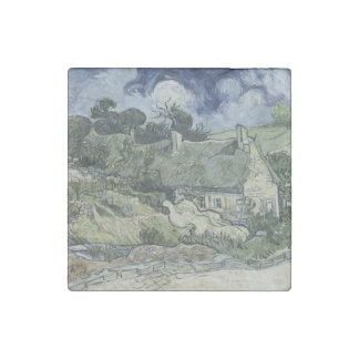 Thatched Cottages Cordeville by Vincent Van Gogh Stone Magnet