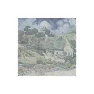 Thatched Cottages Cordeville by Vincent Van Gogh Stone Magnet