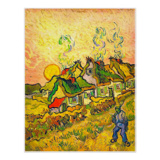 Thatched Cottages in the Sunshine (van Gogh) Poster