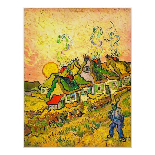 Thatched Cottages in the Sunshine (van Gogh) Print