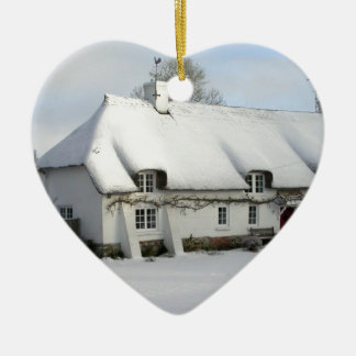 Thatched English Cottage in Snow Christmas Ornament