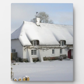 Thatched English Cottage in Snow Plaques