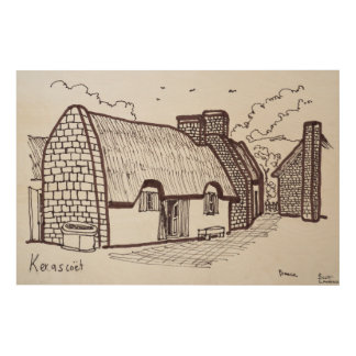 Thatched Houses, Kerascoet | Brittany, France Wood Wall Decor