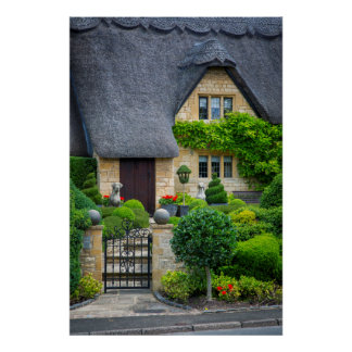 Thatched roof cottage poster
