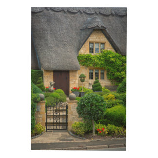 Thatched roof cottage wood prints