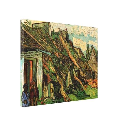 Thatched Sandstone Cottages Chaponval by van Gogh Canvas Print