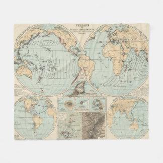 Thatigkeit des Erdinnern Atlas Map Fleece Blanket