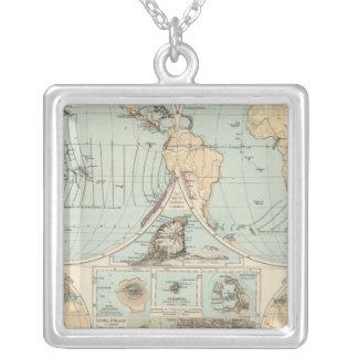 Thatigkeit des Erdinnern Atlas Map Silver Plated Necklace