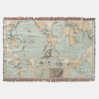 Thatigkeit des Erdinnern Atlas Map Throw Blanket