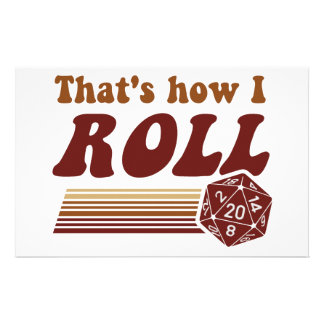 That's How I Roll Fantasy Gaming d20 Dice Stationery Design