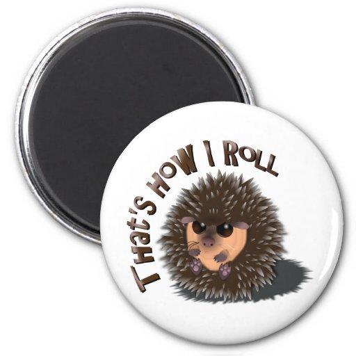 """That's How I Roll"" rolled-up hedgehog Fridge Magnets"