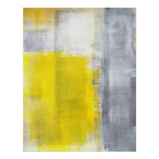 'That's It' Grey and Yellow Abstract Art Poster