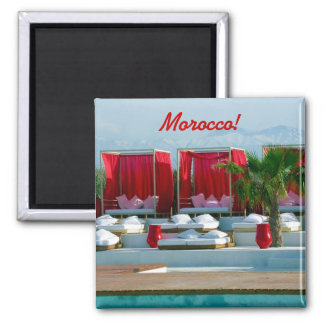 """That's life"", Morocco luxury poolside Square Magnet"