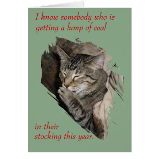 Thats Not Coal Laughing Cat Christmas card