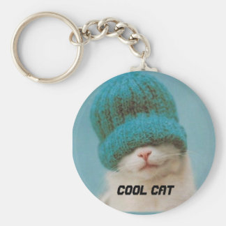 Thats One Cool Cat Basic Round Button Key Ring
