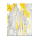 'That's Random' Grey and Yellow Abstract Art Stretched Canvas Print