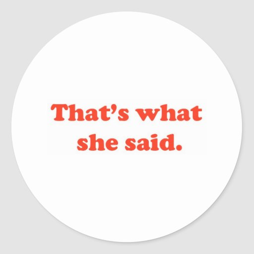 That's What She Said 3 Round Stickers