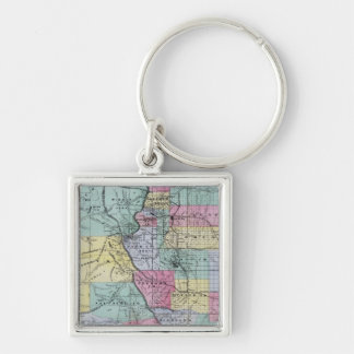 Thayer's Map of Colorado Silver-Colored Square Key Ring