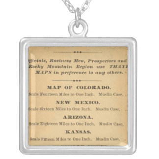 Thayer's map of Colorado Silver Plated Necklace