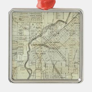 Thayer's Map of Denver Colorado Silver-Colored Square Decoration