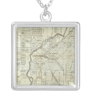 Thayer's Map of Denver Colorado Silver Plated Necklace