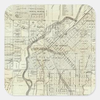 Thayer's Map of Denver Colorado Square Sticker