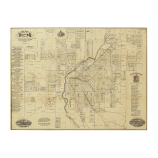 Thayer's Map of Denver Colorado Wood Wall Art