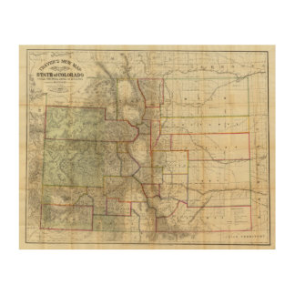 Thayer's New Map Of The State of Colorado Wood Wall Decor