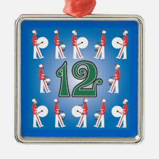 The 12 days of Christmas Silver-Colored Square Decoration