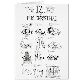 The 12 Days of Pug Christmas Greeting Card