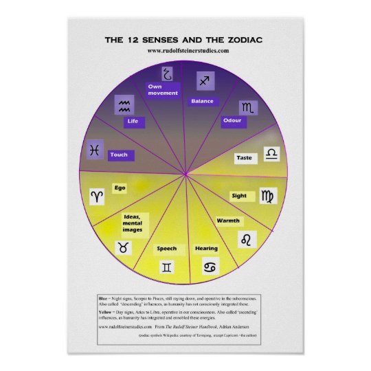 The 12 senses and the zodiac poster