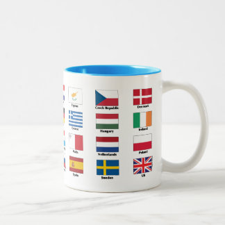 The 28 EU countries' national flags Two-Tone Coffee Mug